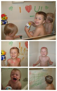 bathtime paint Collage